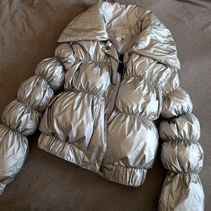 NWT Forever 21 silver vinyl puffy jacket